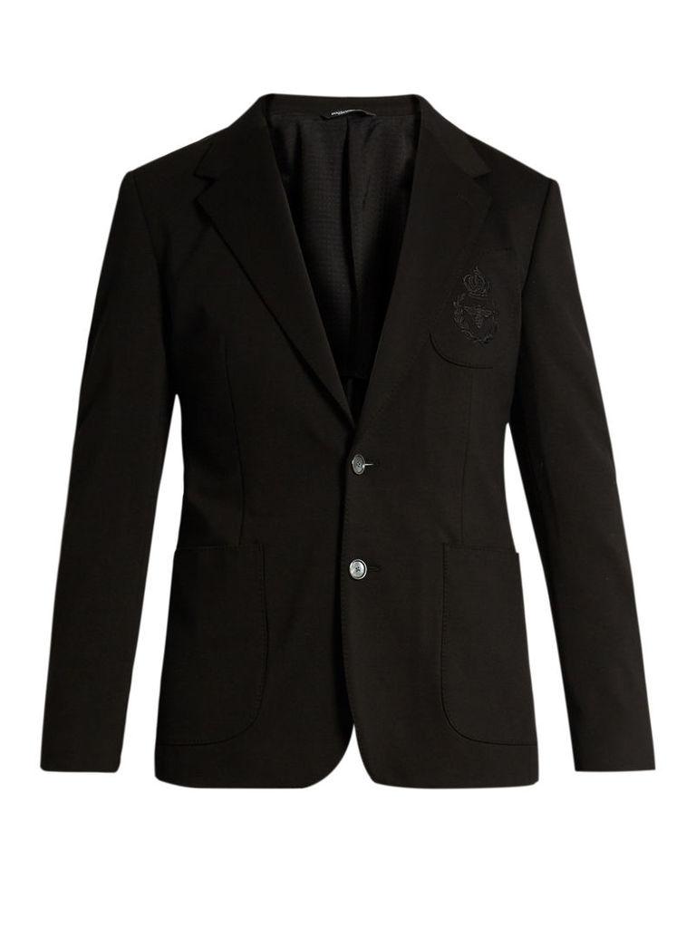 Embroidered patch-pocket blazer
