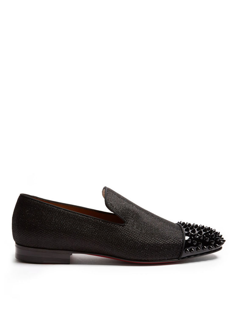 Spooky glitter-weave and patent-leather loafers