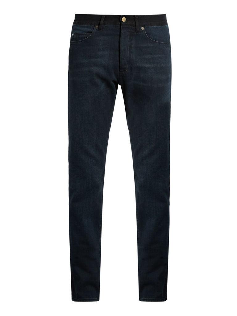 Contrast waistband slim-leg jeans