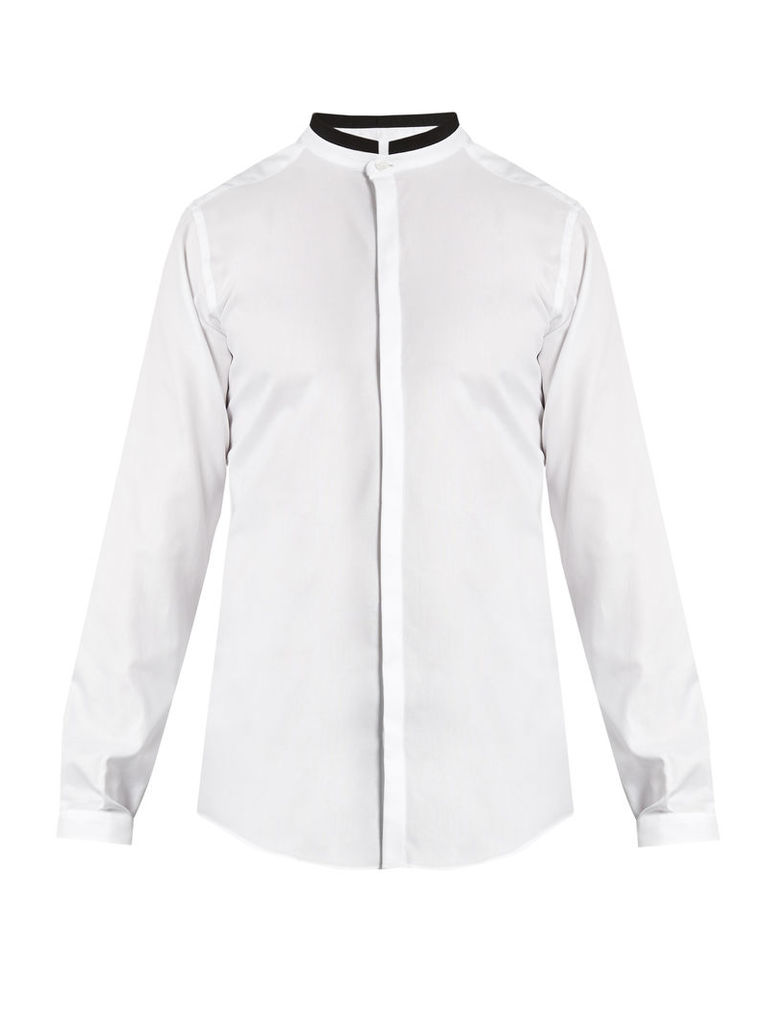 Mandarin-collar cotton shirt