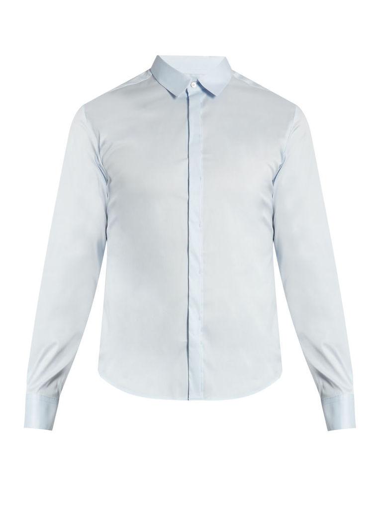 Button-cuff poplin shirt
