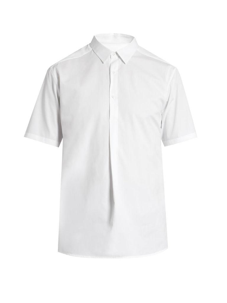 Short-sleeved cotton-blend poplin shirt
