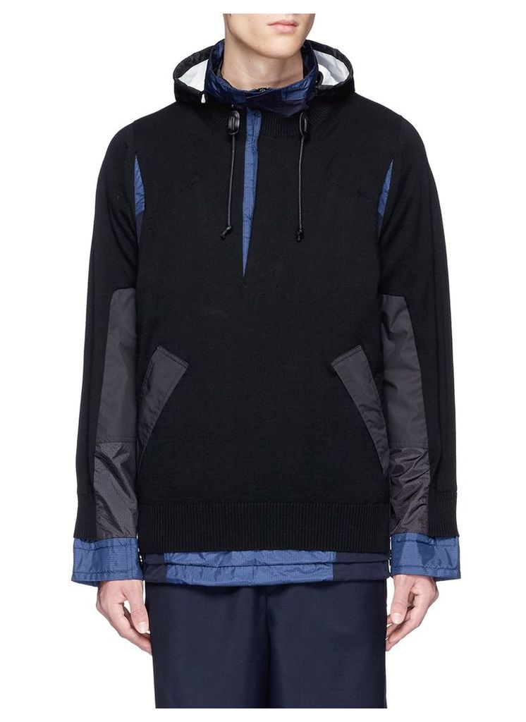 Knit ripstop patchwork hooded jacket