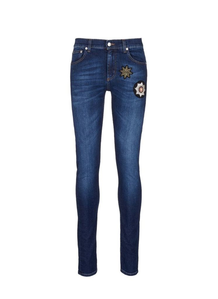 Star badge appliqué stretch jeans