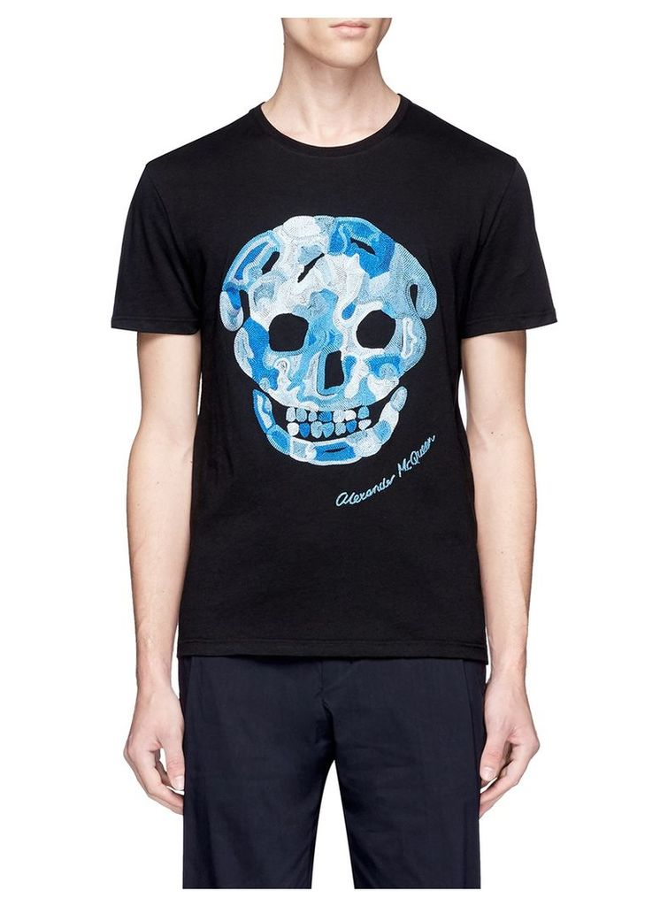 Skull embroidered organic cotton T-shirt