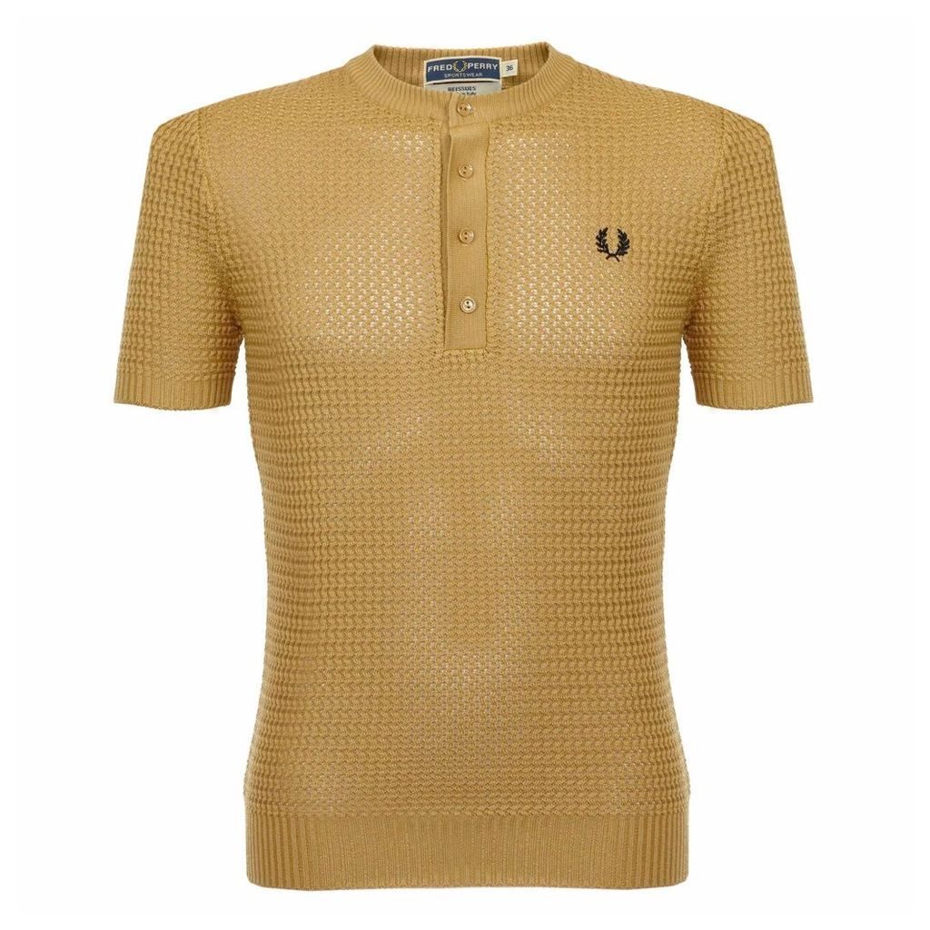 Fred Perry Laurel Knitted Button Neck Gold Polo Shirt K4149 C21