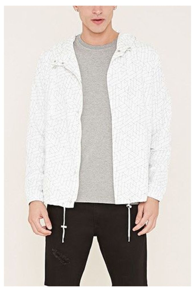 Hooded Abstract Print Jacket