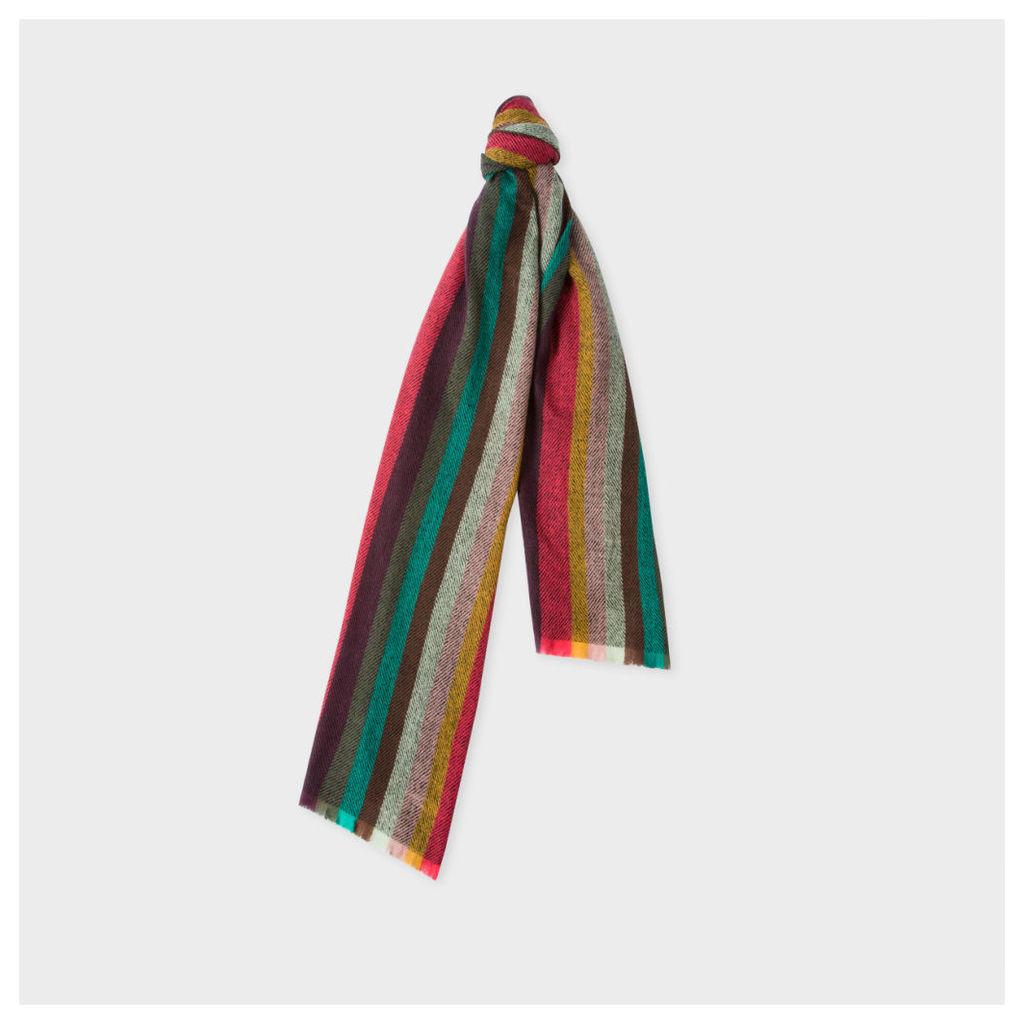 Men's Multi-Coloured Chevron 'Artist Stripe' Lambswool Scarf