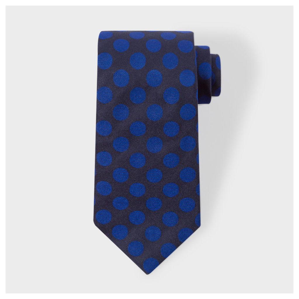 Men's Navy And Indigo Polka Dot Silk Tie