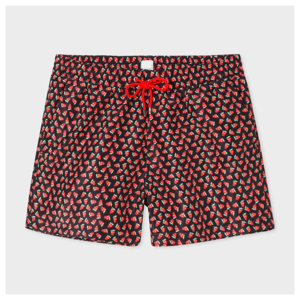 Men's Black 'Strawberry Skull' Print Swim Shorts