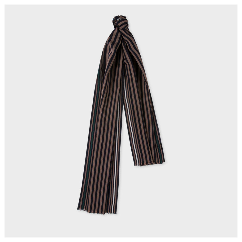 Men's Black And Khaki Stripe Silk-Blend Scarf