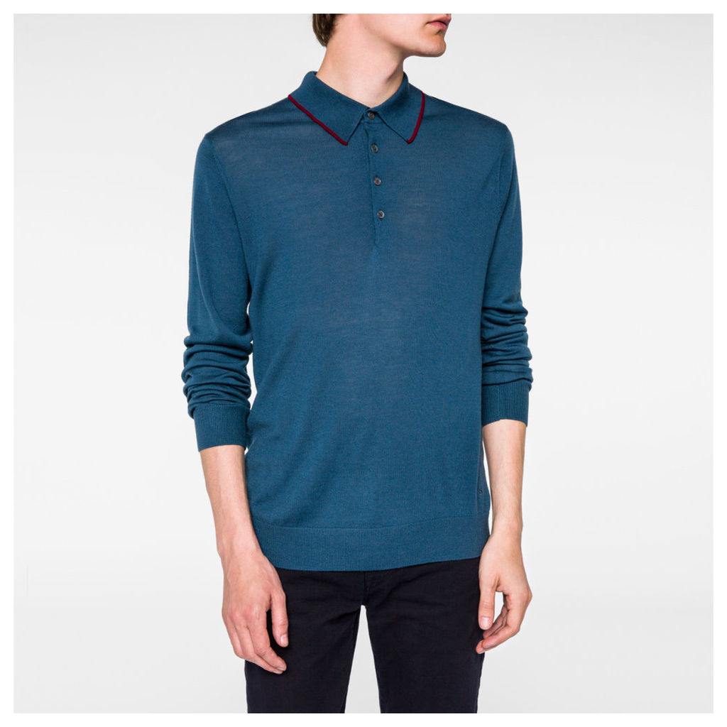 Men's Petrol Blue Merino-Wool Long-Sleeve Polo Shirt