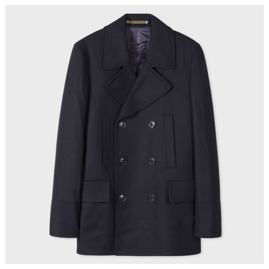 Men's Navy Wool And Cashmere-Blend Peacoat