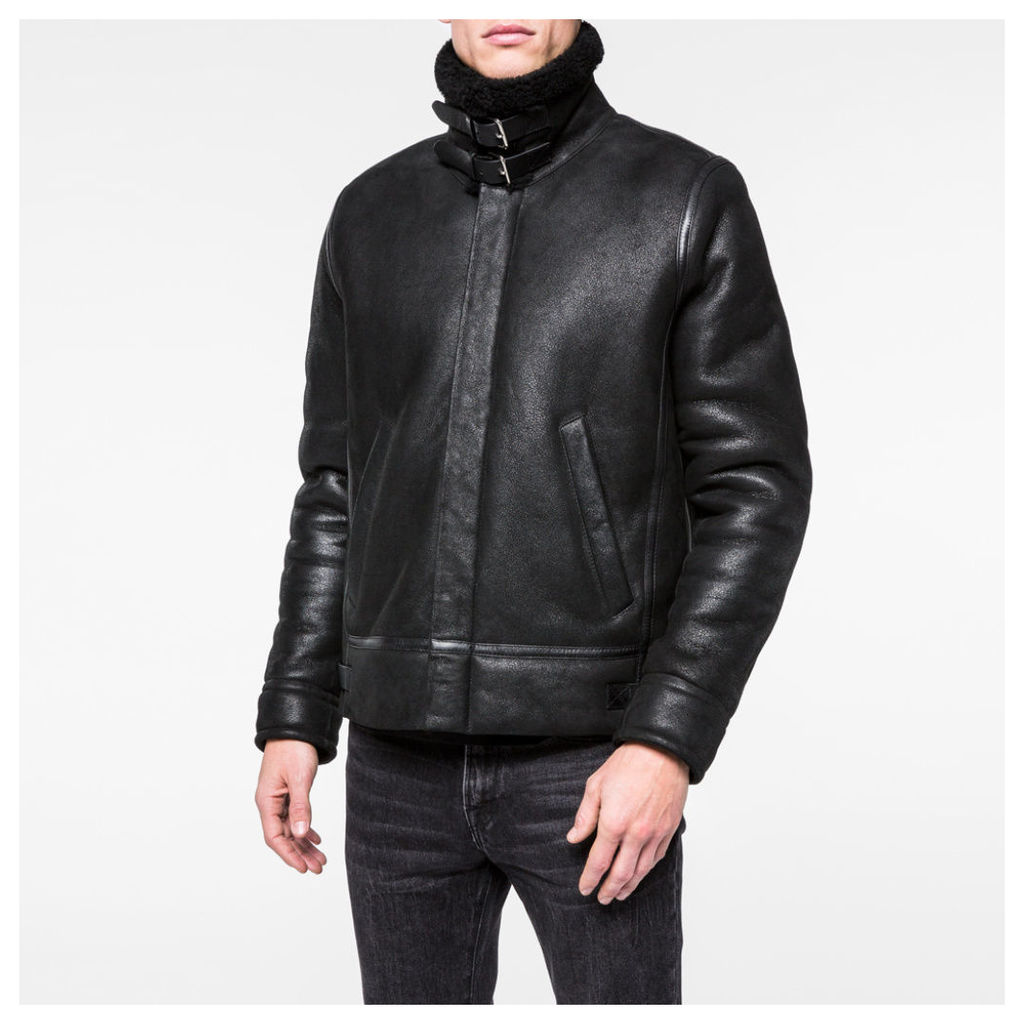Men's Black Sheepskin Flight Jacket