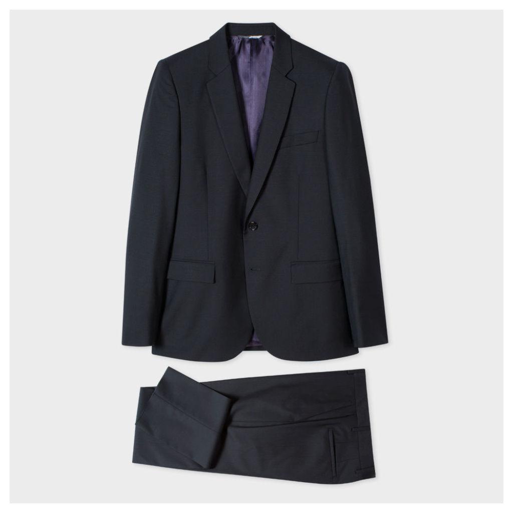 Men's Mid-Fit Black Wool And Mohair-Blend Suit