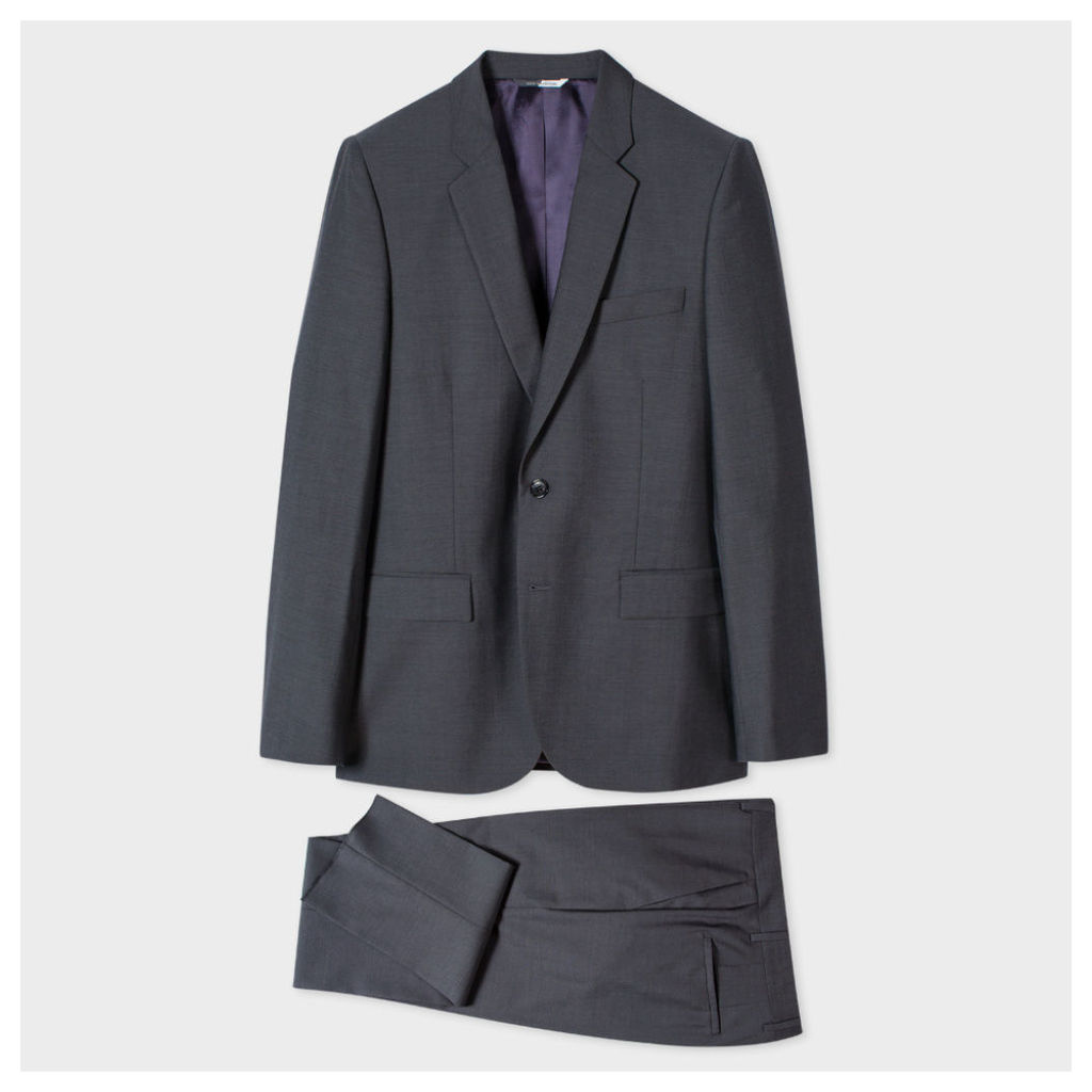 Men's Mid-Fit Grey Wool And Mohair-Blend Suit