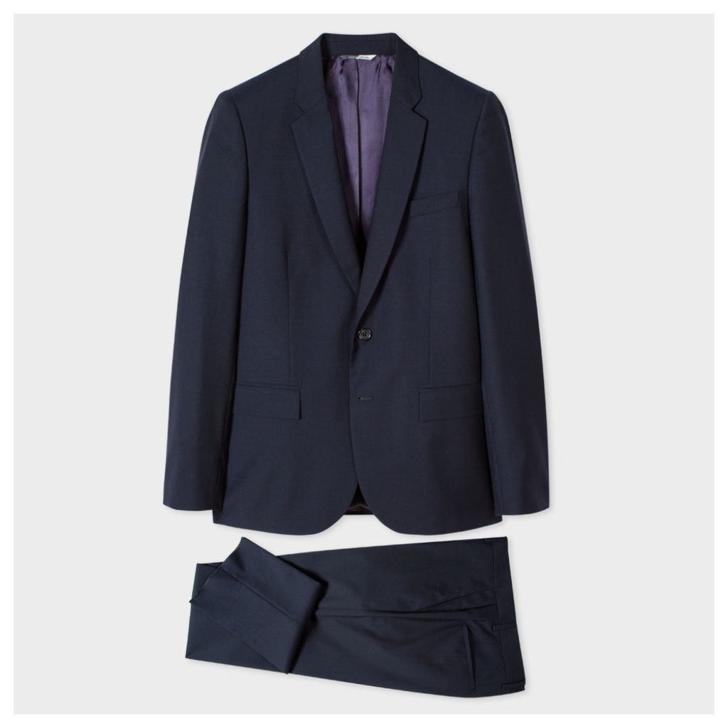 Men's Mid-Fit Navy Wool And Mohair-Blend Suit