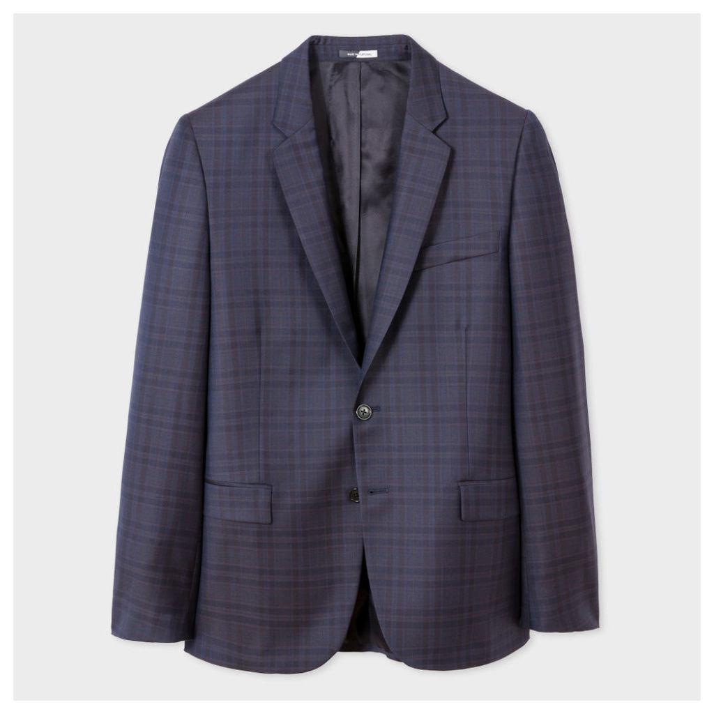 Men's Mid-Fit Indigo Wool Check Blazer