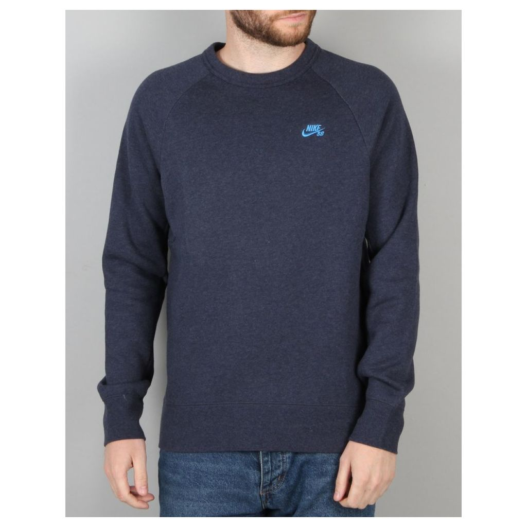 Nike SB Icon Fleece Sweatshirt - Obsidian Heather/Lt Photo Blue (S)