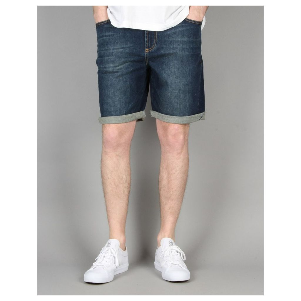 Route One Denim Roll Up Shorts - Mid Wash (28)