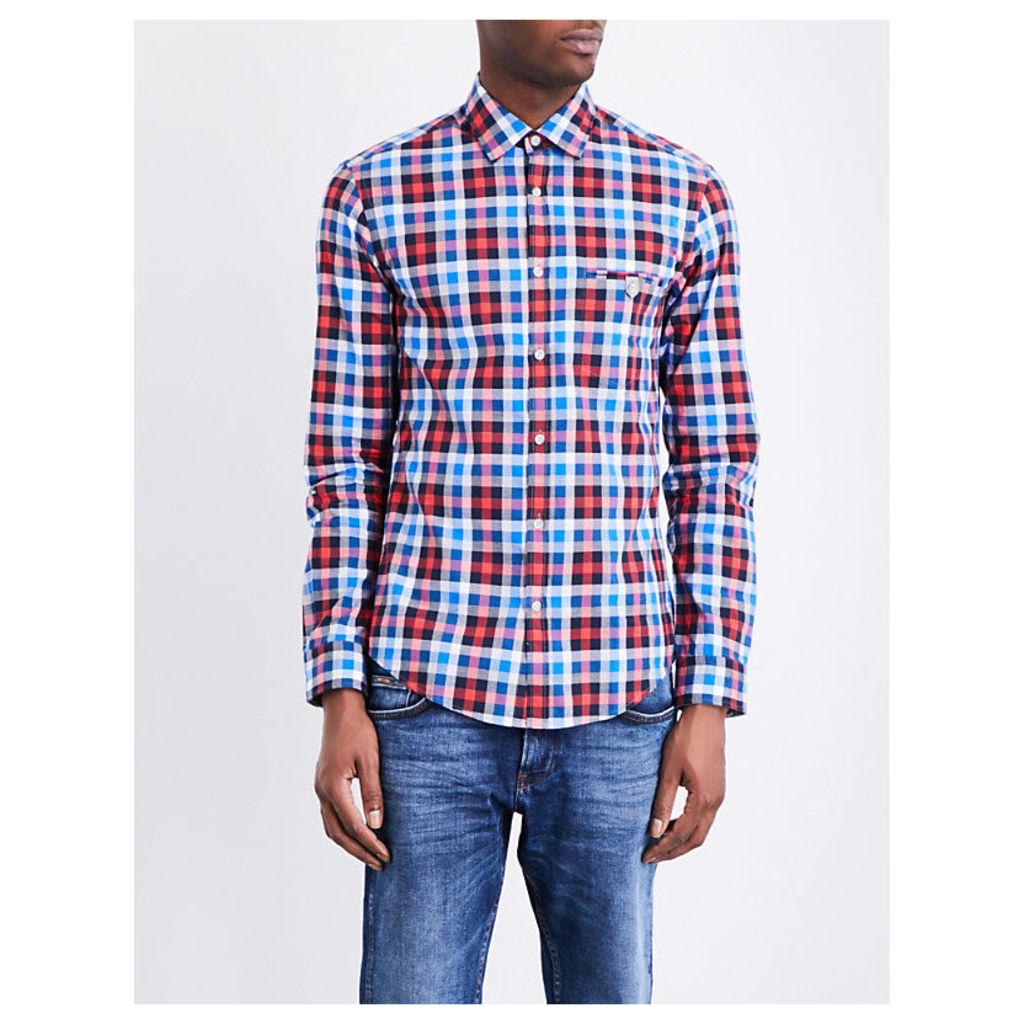 Hugo Boss Check-Print Cotton Shirt, Men's, Size: XXL, Open Red
