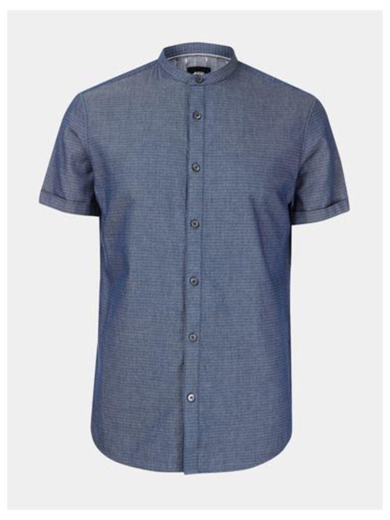 Mens Short Sleeve Indigo Textured Grandad Shirt, Blue