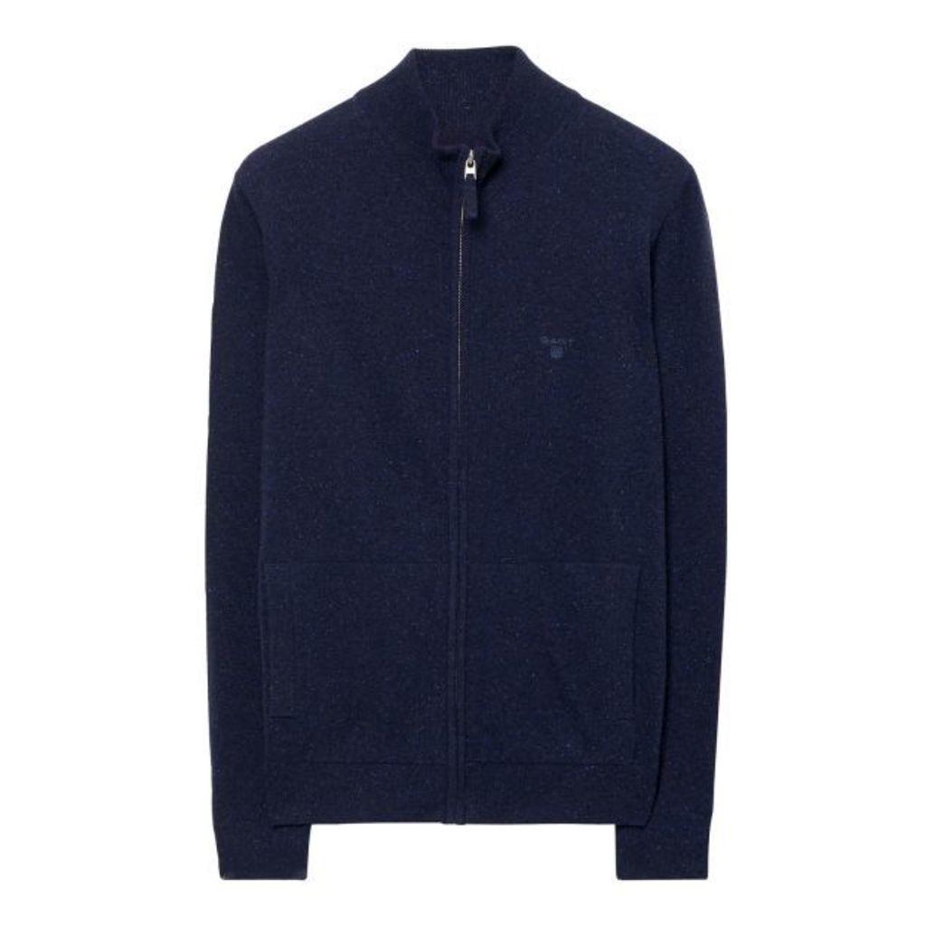 Donegal Tweed Zip Cardigan - Navy