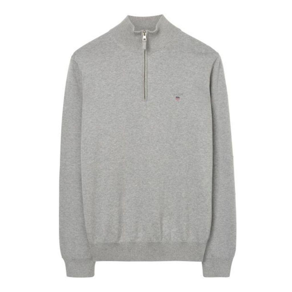 Stretch Cotton Half-zip - Grey Melange