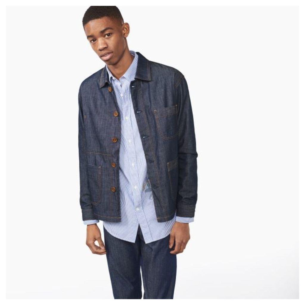 Denim Shirt Jacket - Dark Blue Raw