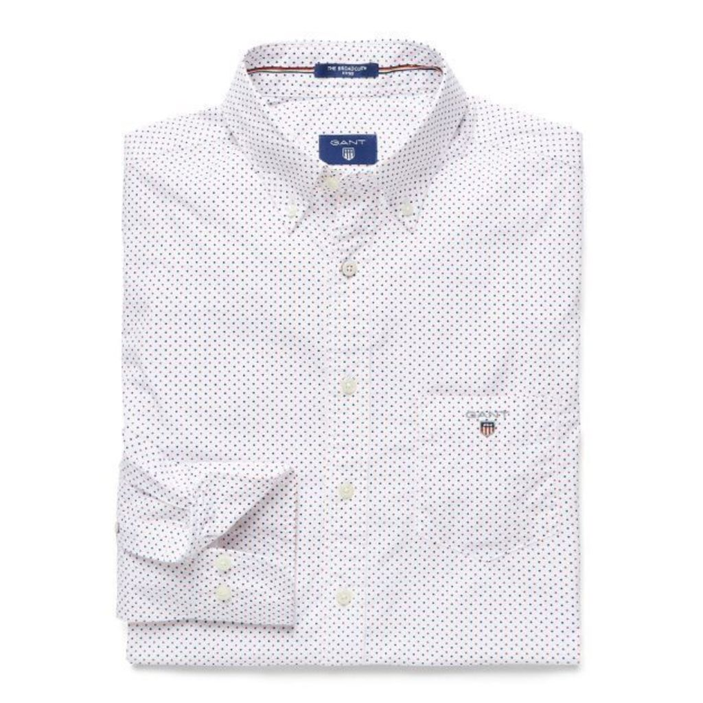 Broadcloth Polka Dot Fitted Shirt - Tomato