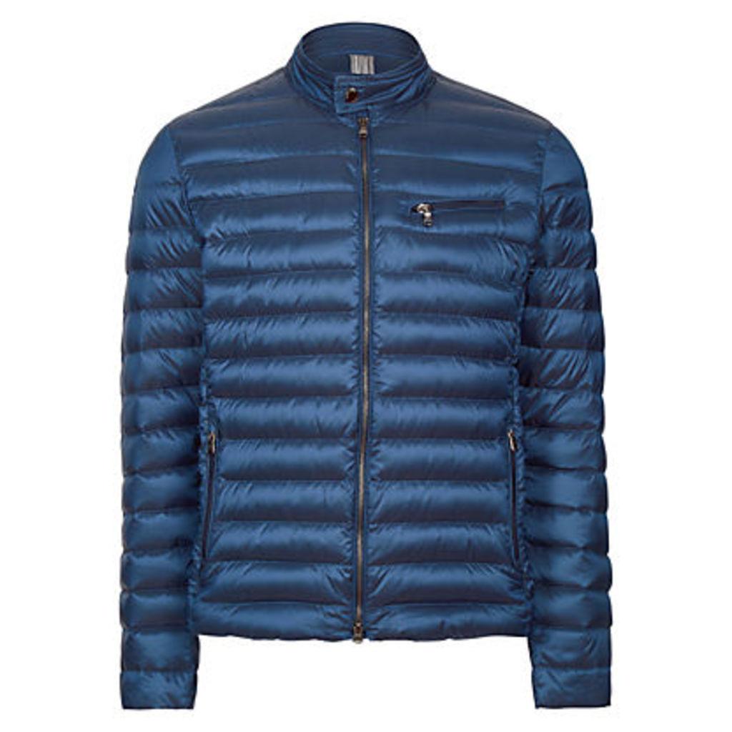Hackett London Lightweight Down Moto Coat, Blue