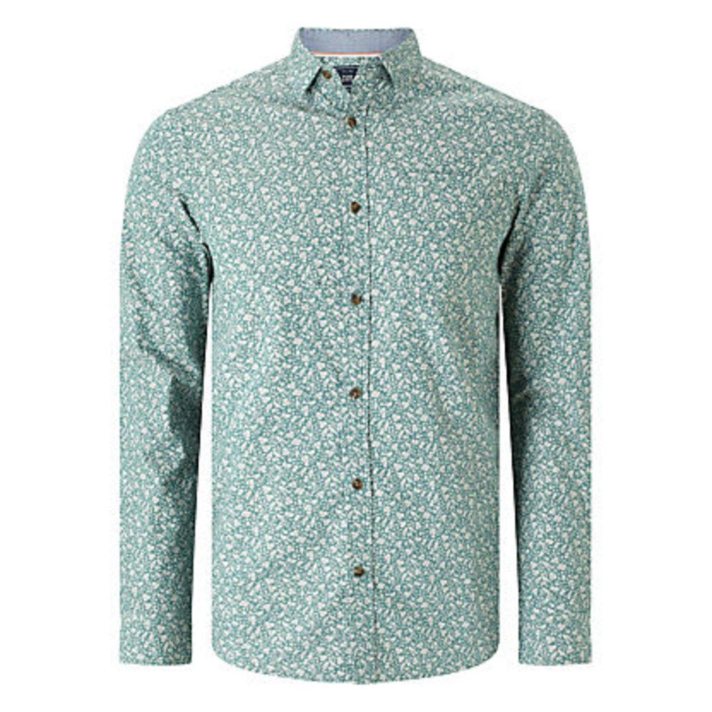 John Lewis Floral Print Shirt, Green