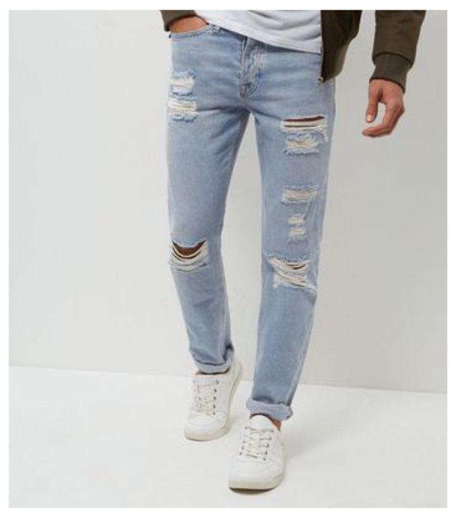 Blue Stonewash Extreme Rip Slim Jeans