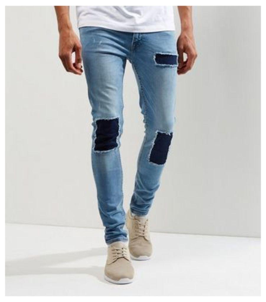 Blue Contrast Patch Super Skinny Jeans