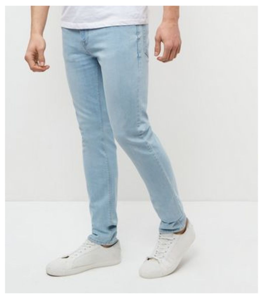 Pale Blue Bleached Skinny Jeans