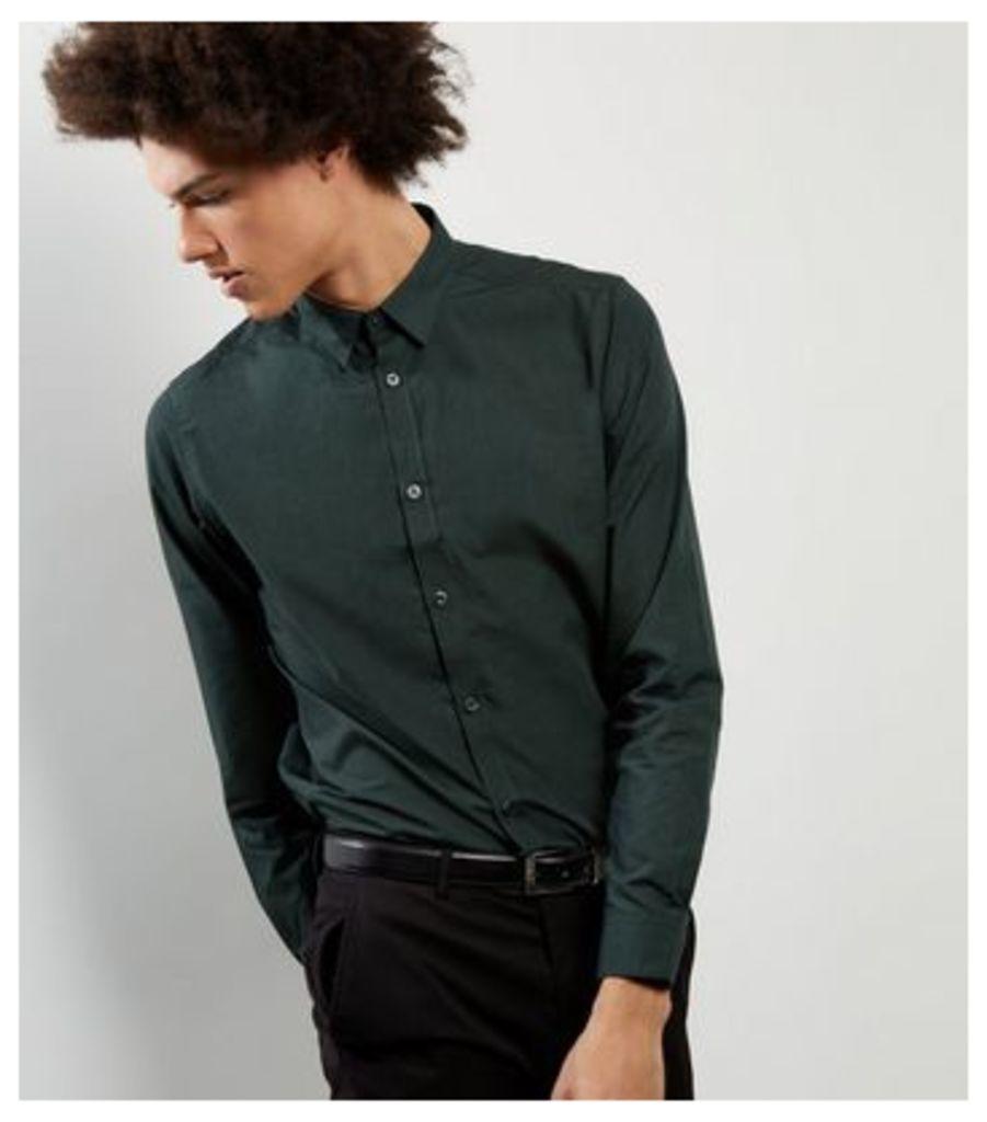 Dark Green Cross Dye Long Sleeve Shirt