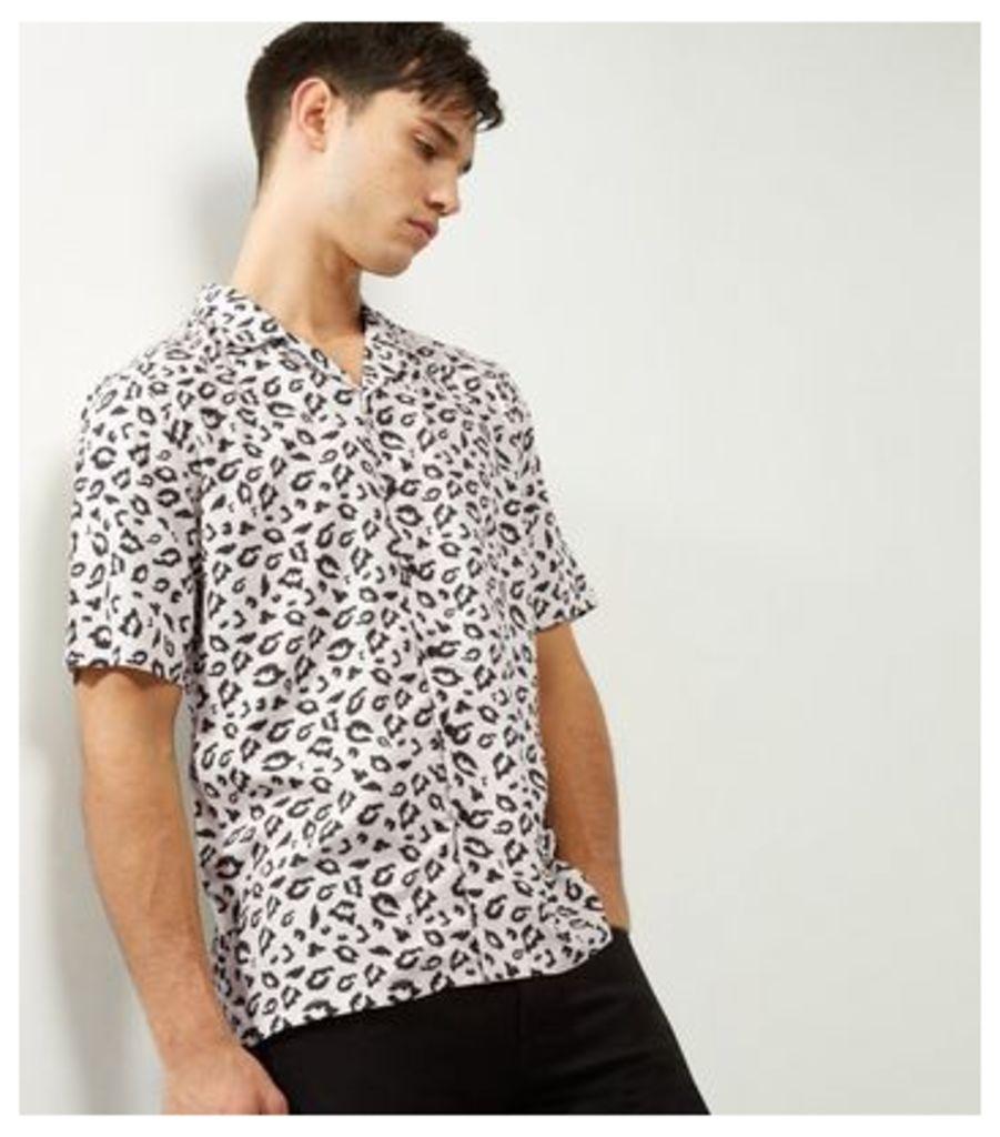 Black Animal Print Short Sleeve Shirt