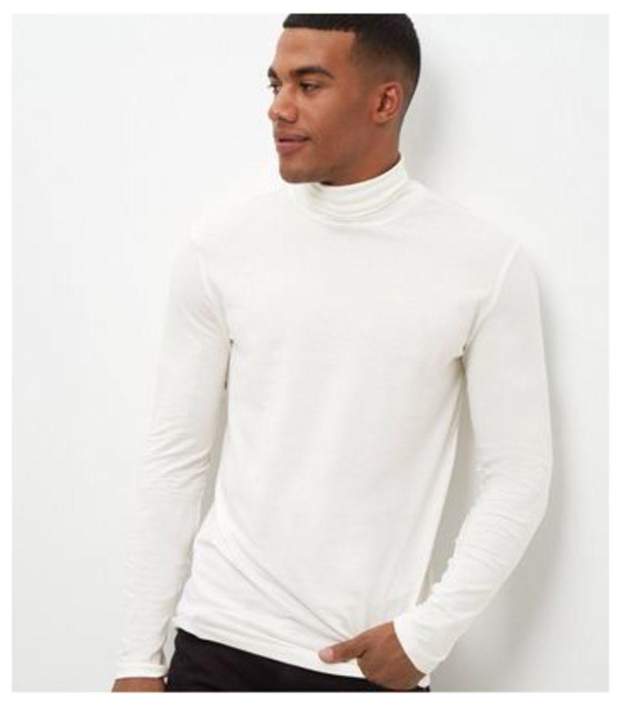 Cream Roll Neck Long Sleeve Top
