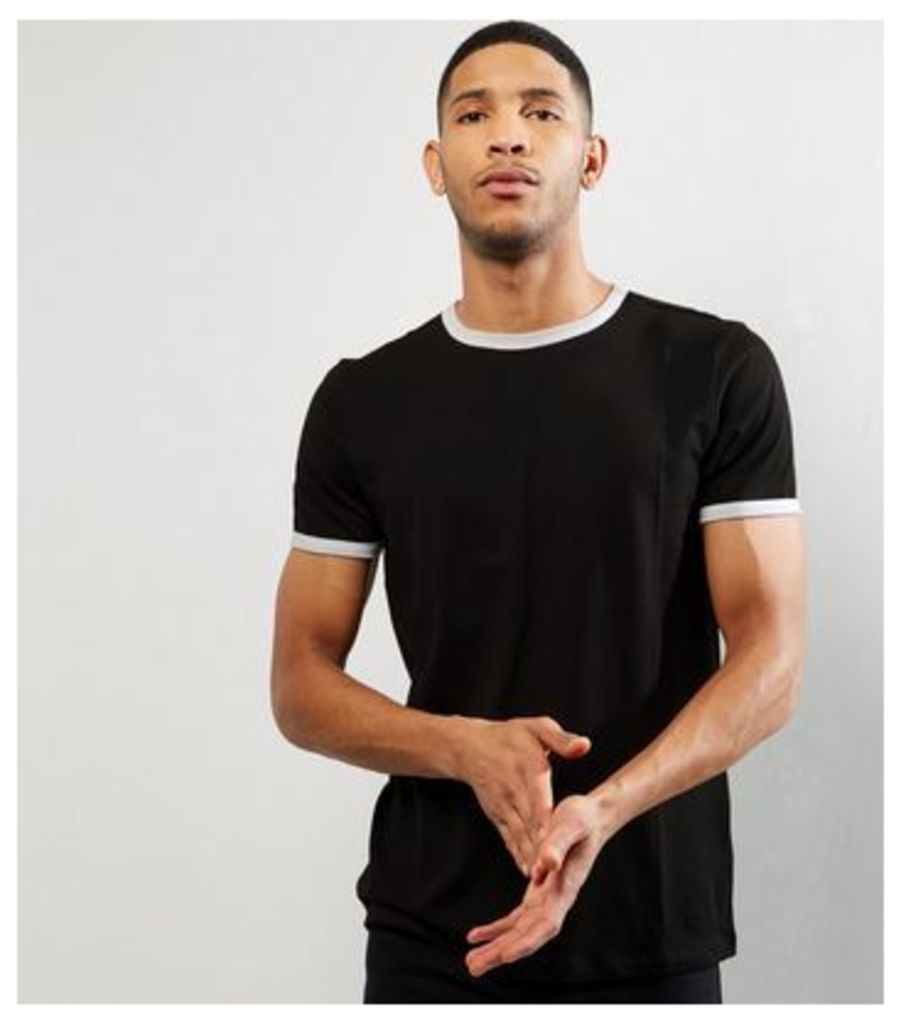 Black Contrast Trim T-Shirt