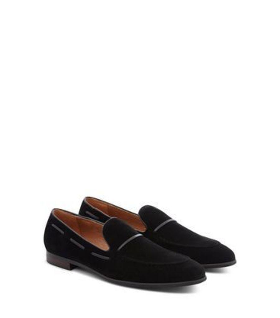 Black Suedette Contrast Trim Loafers