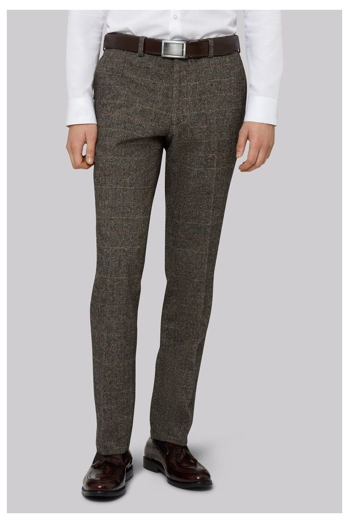 Moss London Slim Fit Light Brown Check Trousers
