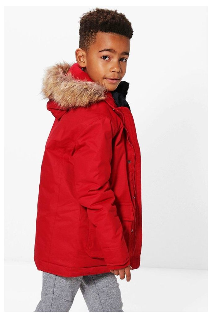 Faux Fur Hooded Double Padded - red