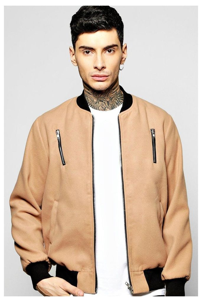 Melton Bomber Jacket with Contrast Zip Detail - camel