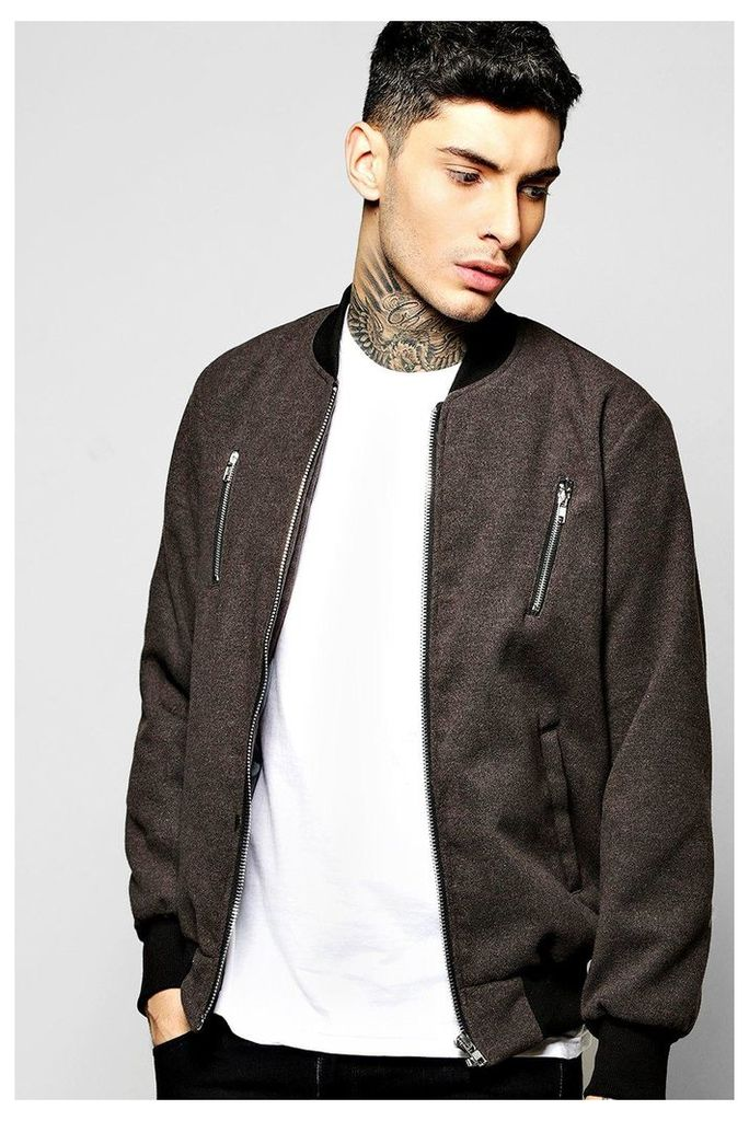 Melton Bomber Jacket with Contrast Zip Detail - grey