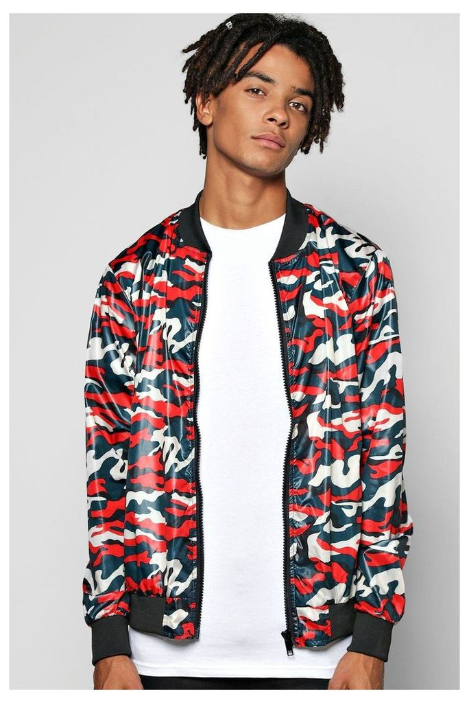 Lightweight Camo Bomber - red