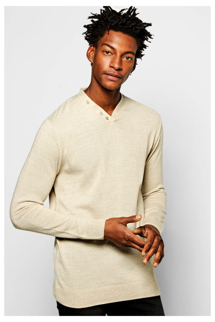 Neck Placket Sweater in Mixed Yarn - oatmeal