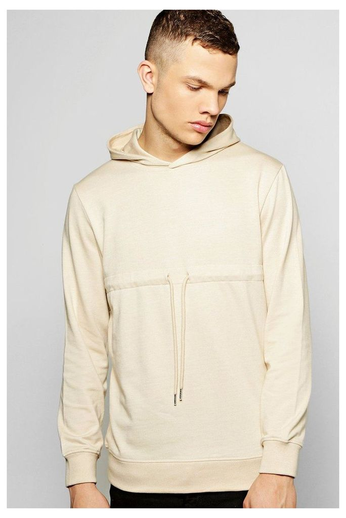 Hoodie With Drawcord - stone