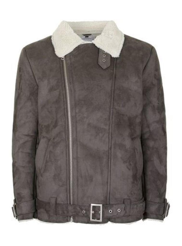 Mens Mid Grey Grey Faux Shearling Lined Oversized Biker Jacket, Mid Grey