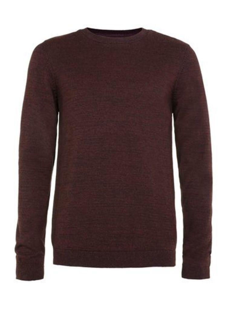 Mens Red Burgundy And Black Twist Crew Neck Jumper, Red