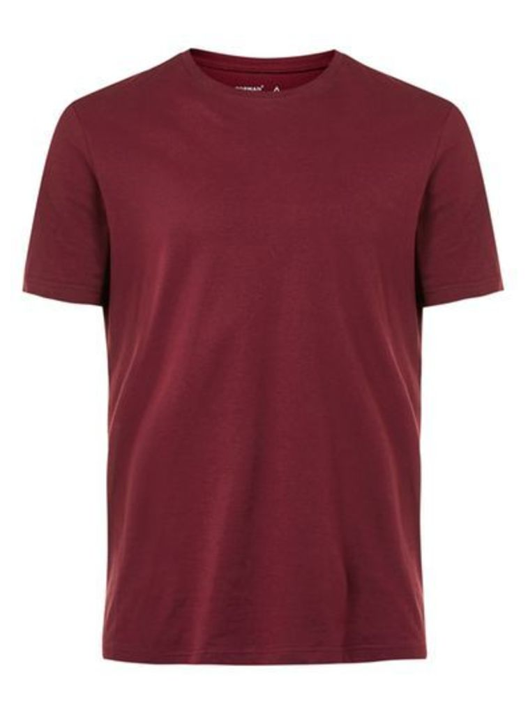 Mens Red Burgundy Crew Neck T-Shirt, Red